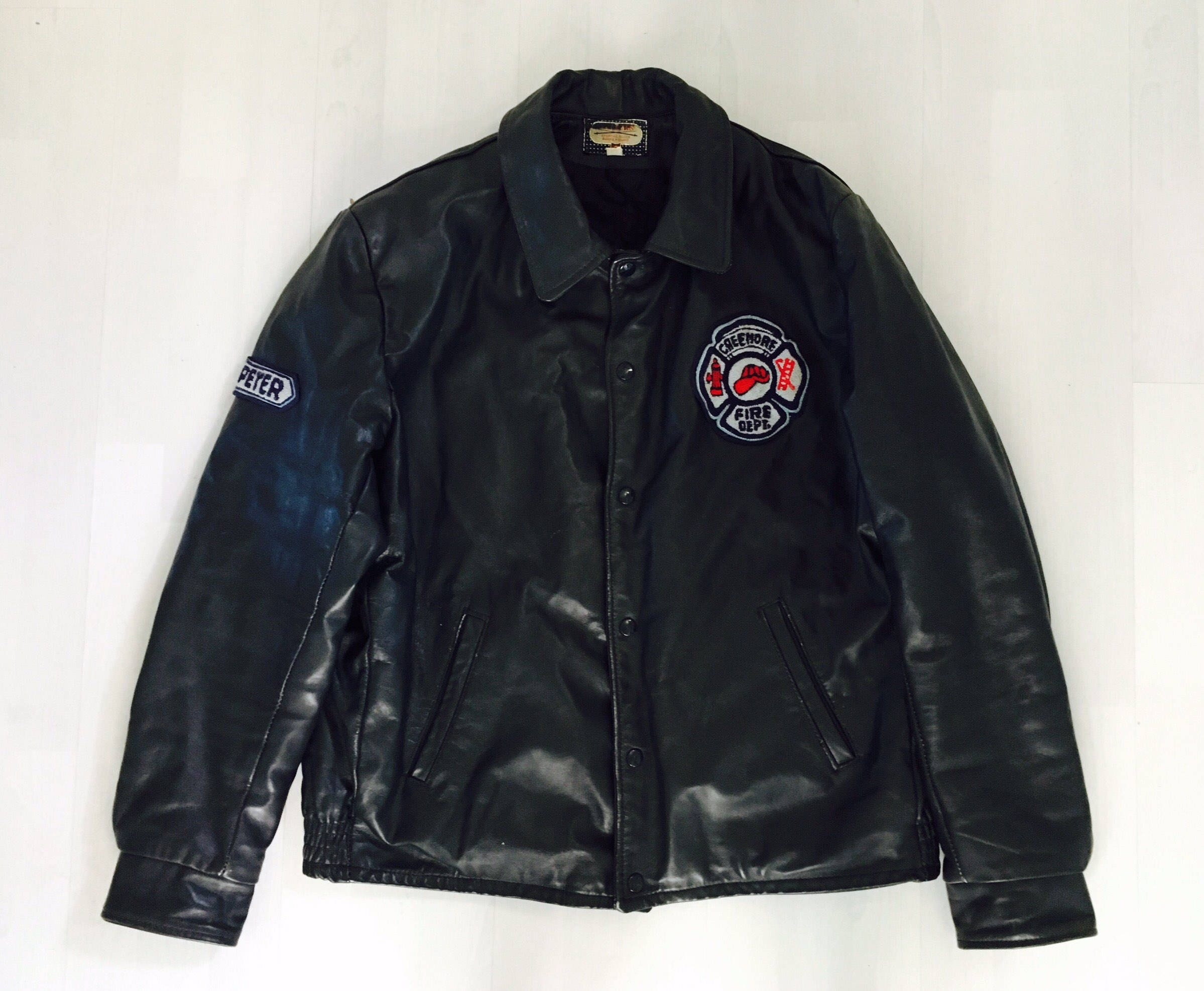 VINTAGE Leather Fire Department Jacket Creemore Fire Department Dark Navy Leather Jacket