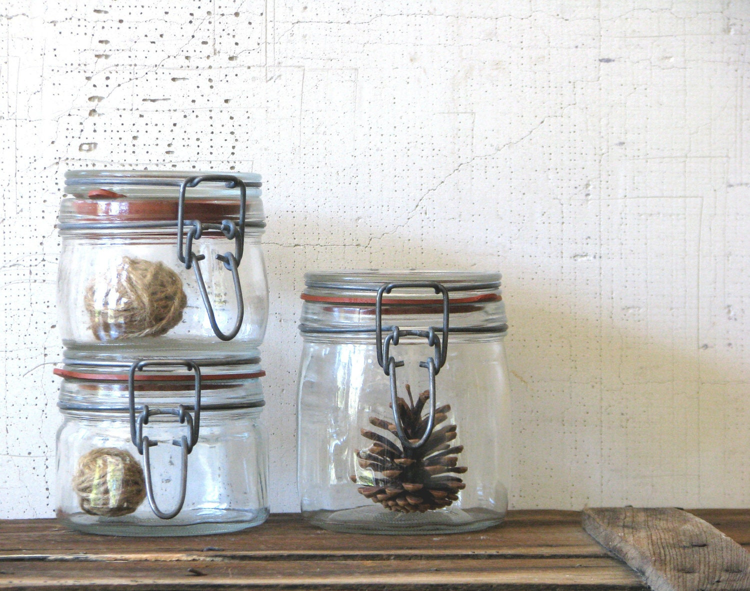 vintage glass jars - clamp closures - minimal modern farmhouse kitchen wares