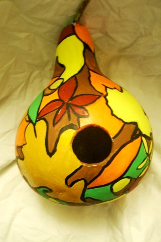 Handpainted Gourd Fall Leaves Birdhouse bright yellow orange red green Gifts - MARVINSTUDIO