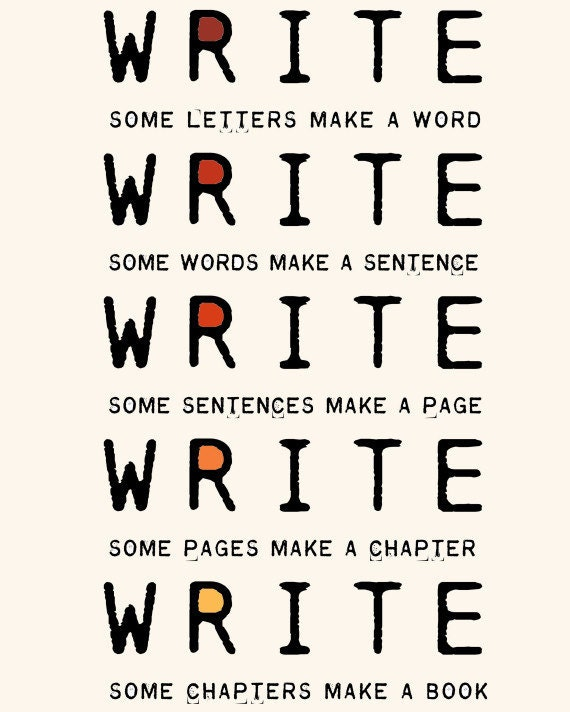 Write Write Write Art Print To Motivate Your Writing For Novelists Writers Authors Nanowrimo Participants