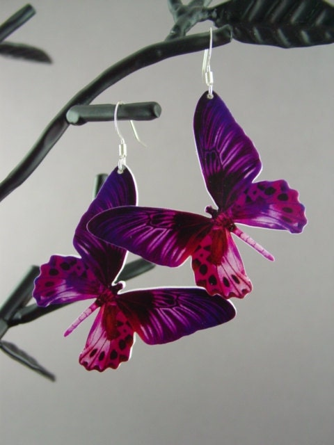 Butterfly Earrings-Purple and Fuchsia L003-NEW ITEM 10% off-will be 18