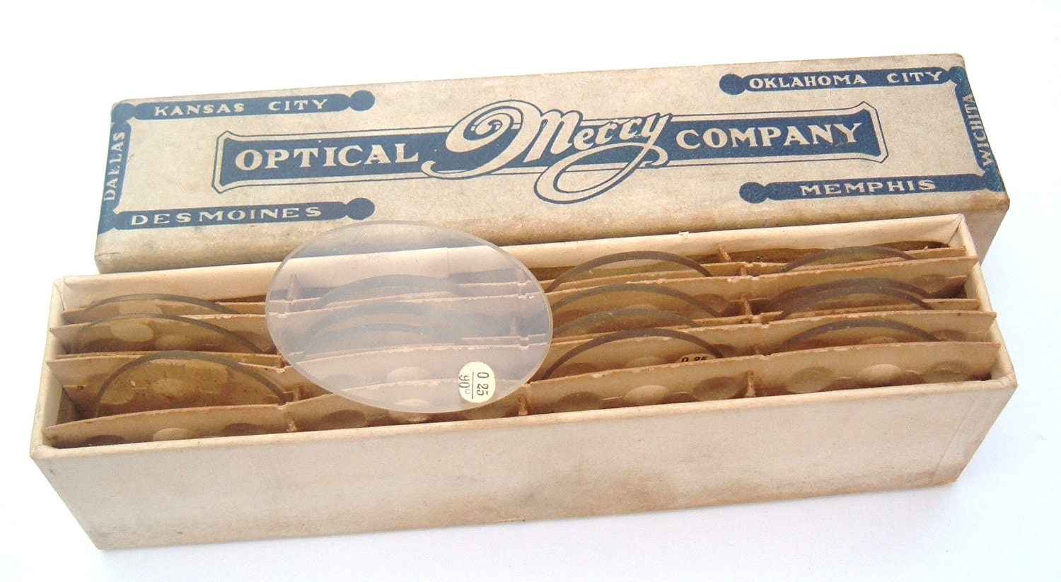 16 Vintage Antique Optical Lenses in original box