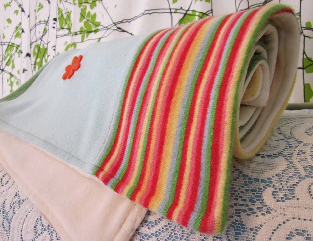 CASHMERE Heirloom Baby Blanket Upcycled Sweaters / Spring Flowers / Lap Quilt / Needle Felted