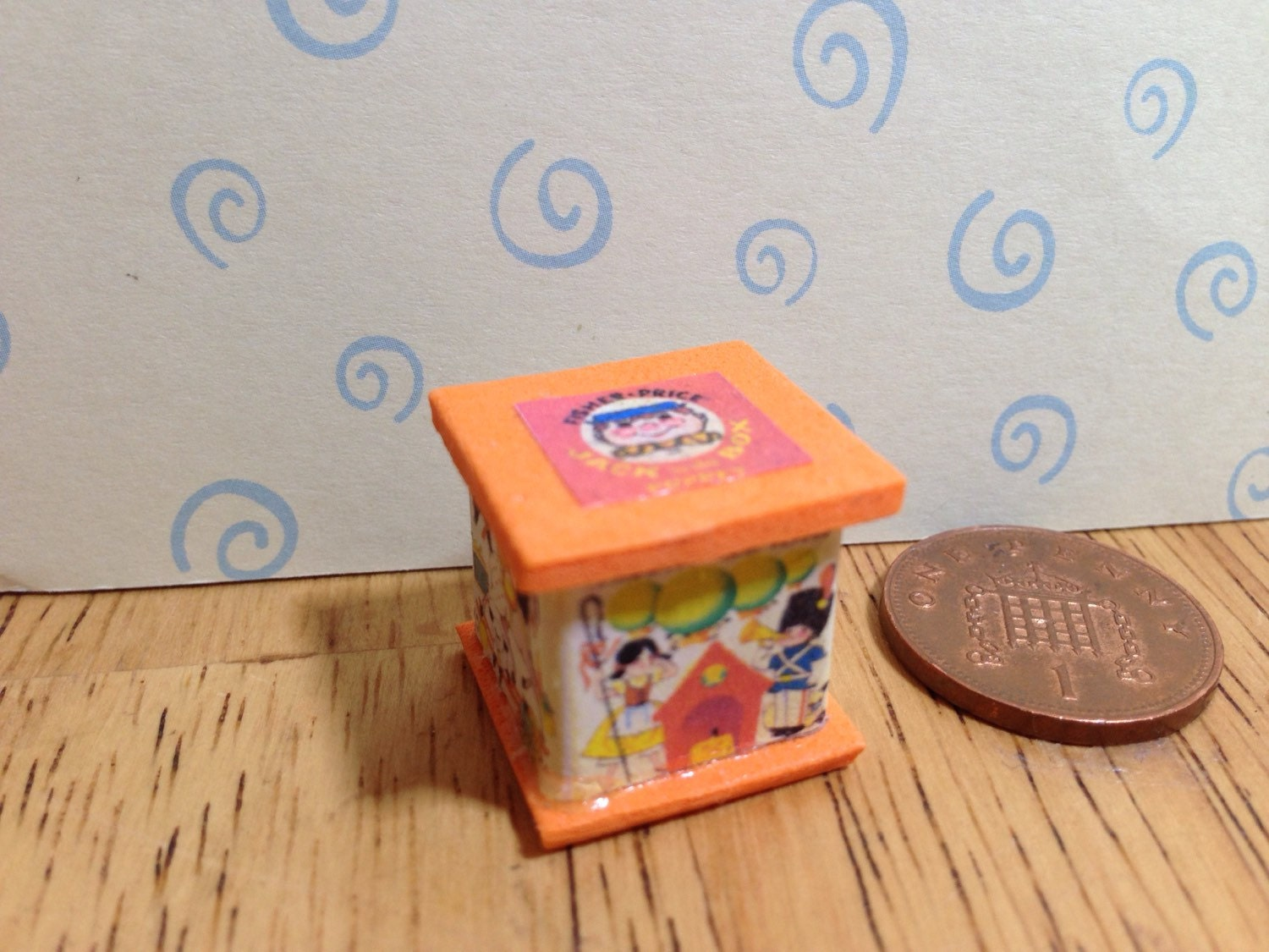 Hand made Dolls house Miniature replica vintage fisher price jack in the box 112 scale