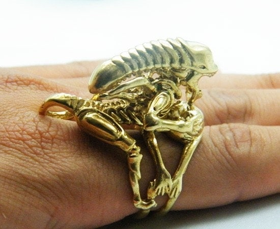 New Enamel Genuine Gold 18K Modern Alien and Punk Style Brass adjustable ring size
