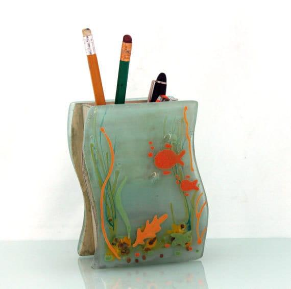 Fused glass desk organizer pencil brush holder by virtulyglass - Glass desk organizer ...
