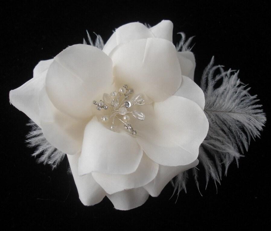 MADELEINE - Ivory Silk Flower With Ostrich Feathers