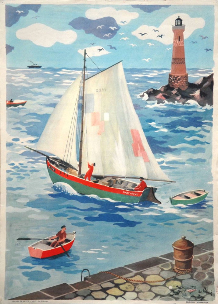 Vintage French poster from 1950s - school, classroom poster - nautical