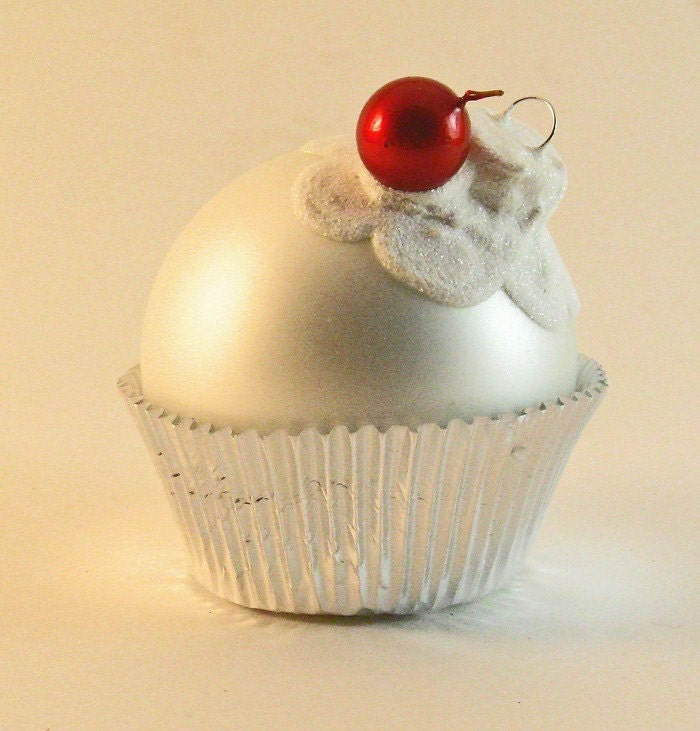 Large White Glass Cupcake Ornament with Glittered White Frosting and a Cherry on top