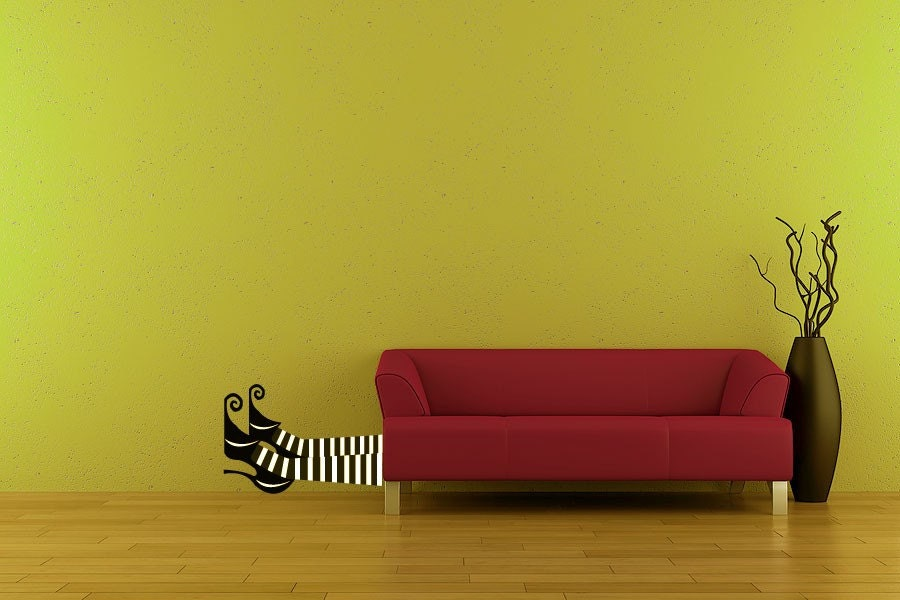 Vinyl Wall Decal Sticker Art -Witch Feet - Halloween Decoration