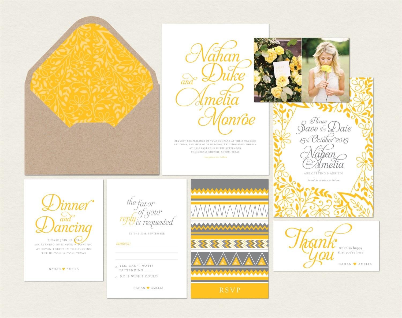 Gold yellow calligraphy wedding invitations by artsydesignco