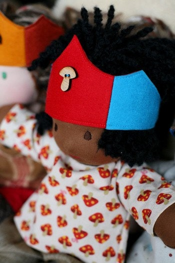 Bamboletta Doll Crown - red and turquoise toadstool