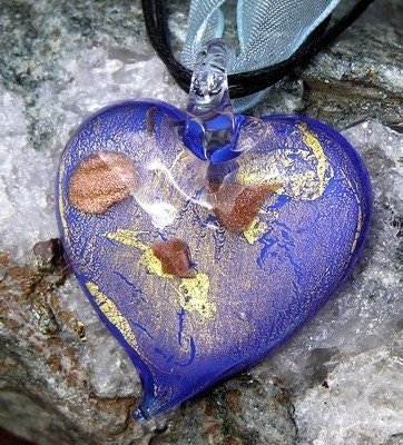 WINTER SALE SPECIAL Offer - Beautiful Blue Heart Glass Pendant