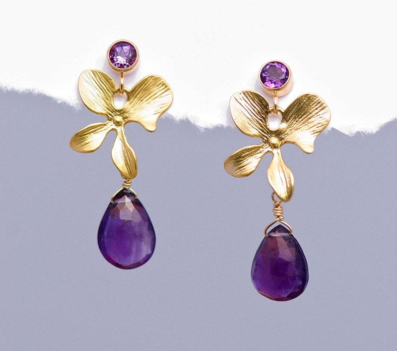 Faceted Amethyst drop with Matte Finished 16K Gold Plating Orchid Flowers - delezhen