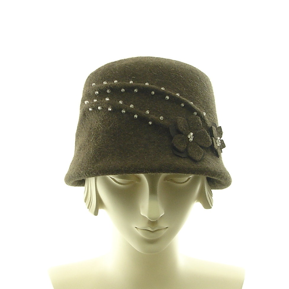 brown cloche hat womens hat by themillineryshop