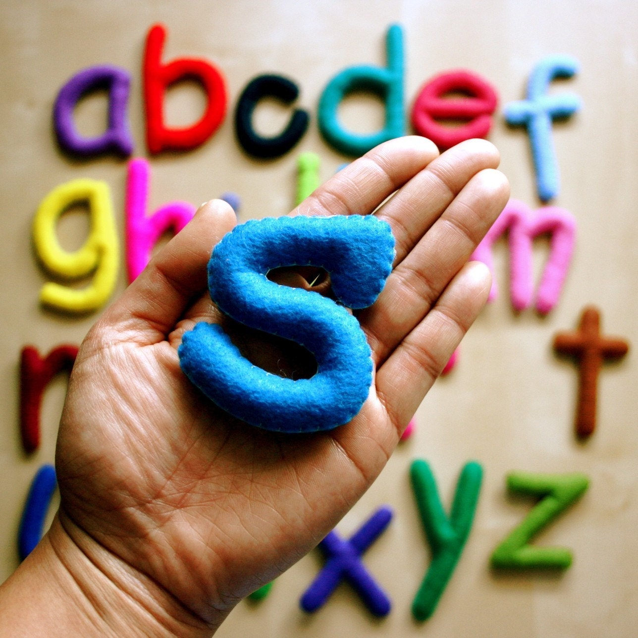 Large Multi Color Alphabet Set - 26 Stuffed Felt Letters - Lower Case