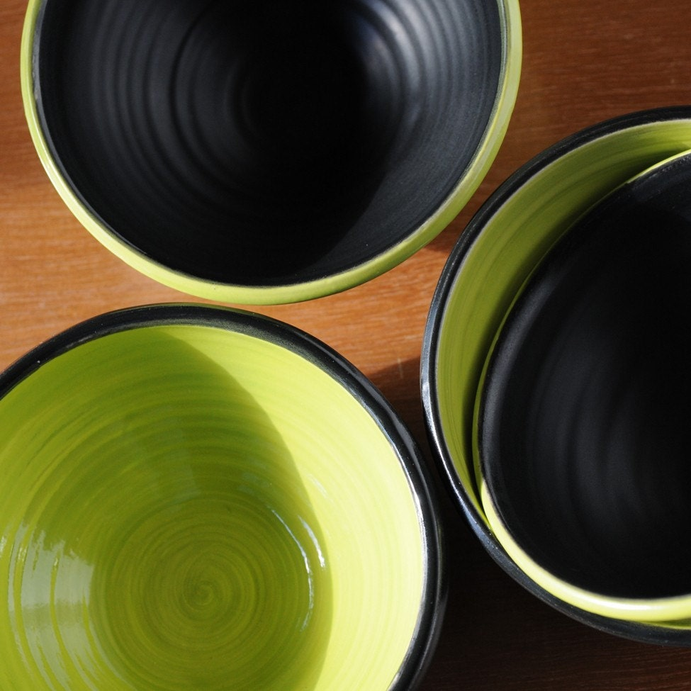 Small porcelain bowl set  black and chartruse -for orders only