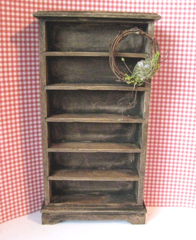 Dollhouse shelves mini bookcase dark oak bookcase country bookcase vine wreath  twelfth scale dollhouse miniature