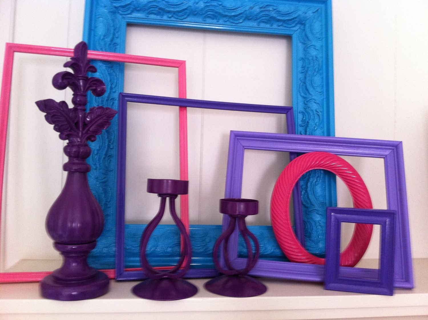 Vintage Upcycled Painted Frames and Candleholders Home Decor