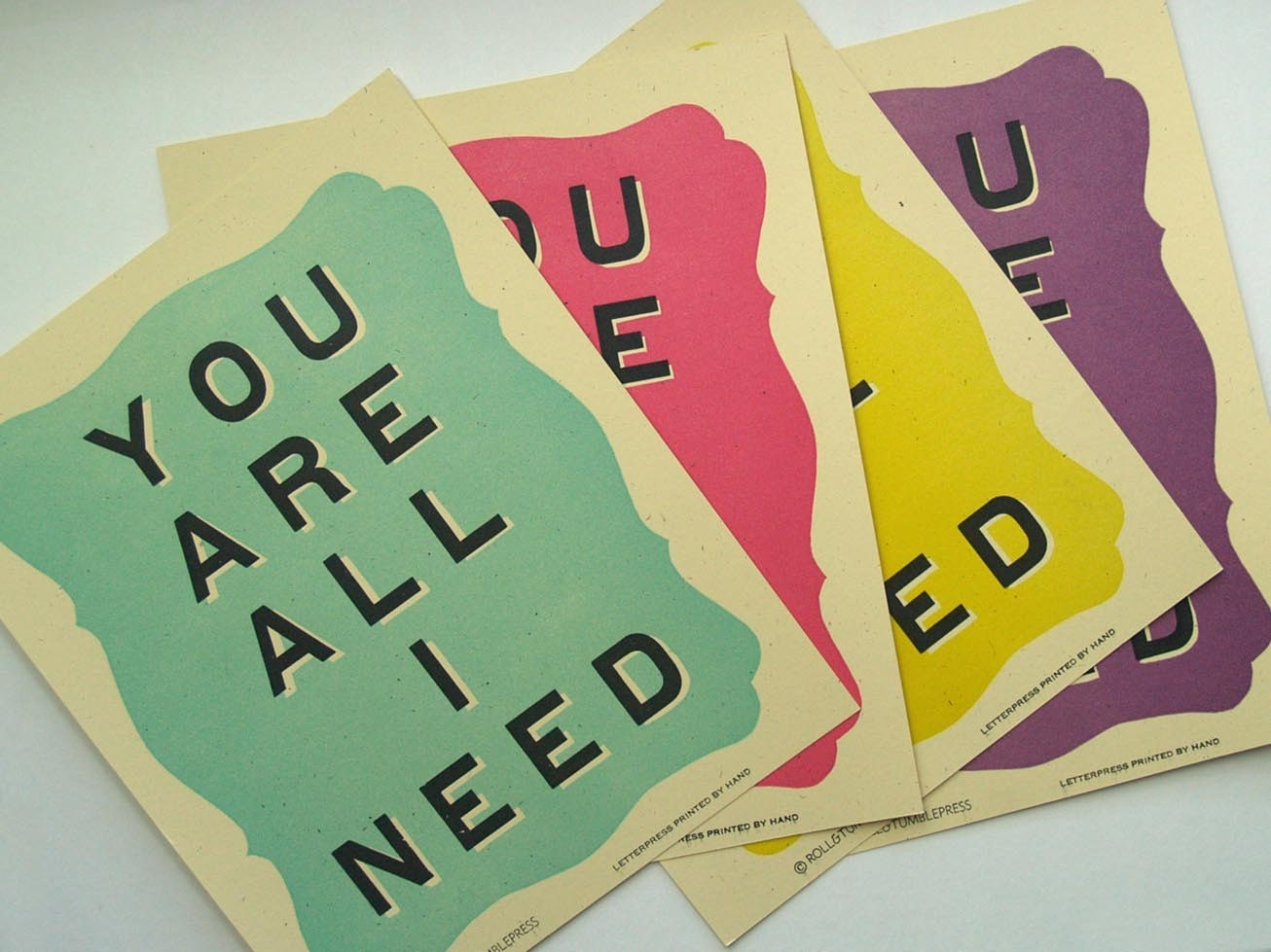 You Are All I Need Letterpress Mini Poster- Watermelon