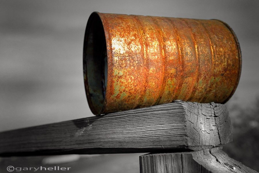 Orange Appeal - 8x12 or 8x10 signed photography print of a rusty can on an old wooden railing - garyhellerphotograph
