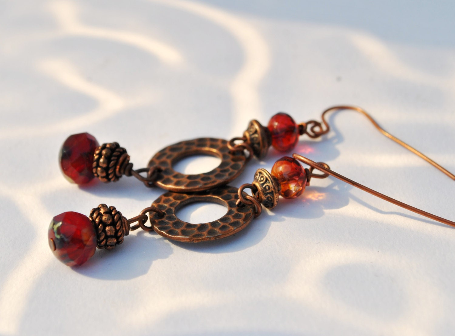 Sangria Red and Copper earrings with Czech glass beads and copper circles and copper beads - Beechtree