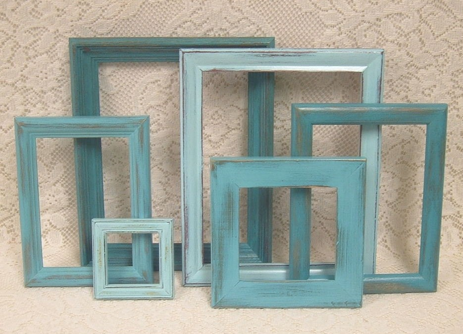 Shabby Chic Painted Picture Frame Collection Aqua Turquoise Distressed Gallery Grouping B