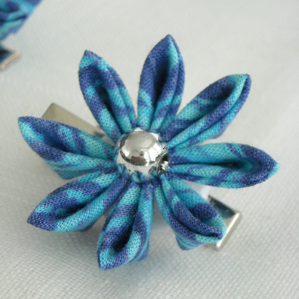 Blue Beach-Kanzashi inspired hairclip