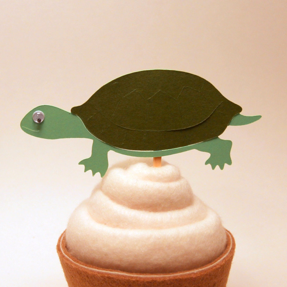 12 Turtle Cupcake Toppers - SimpleSensations