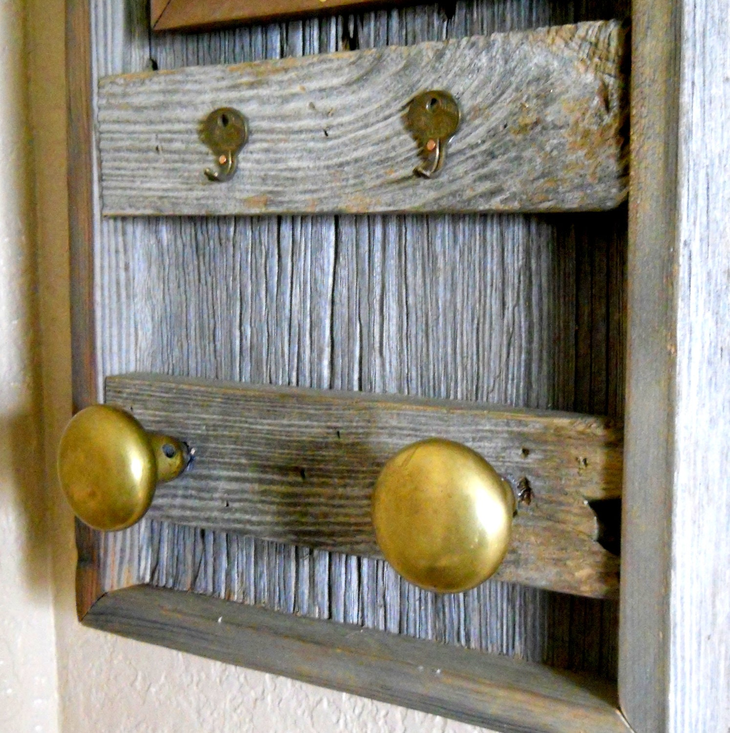 Barn Wood Mirror and Coat Rack with Key by CassCountyWoodworks