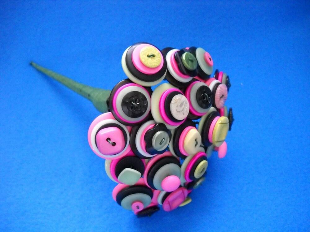 Peek a Boo Pink Black Green Wedding Toss Button Bouquet Centerpiece