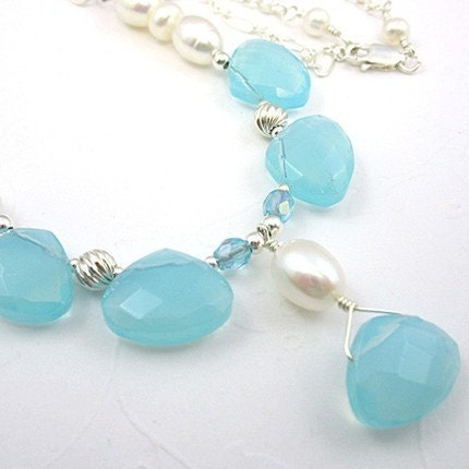 Aqua Necklace Glass Briolettes, Freshwater Pearls, Sterling Silver