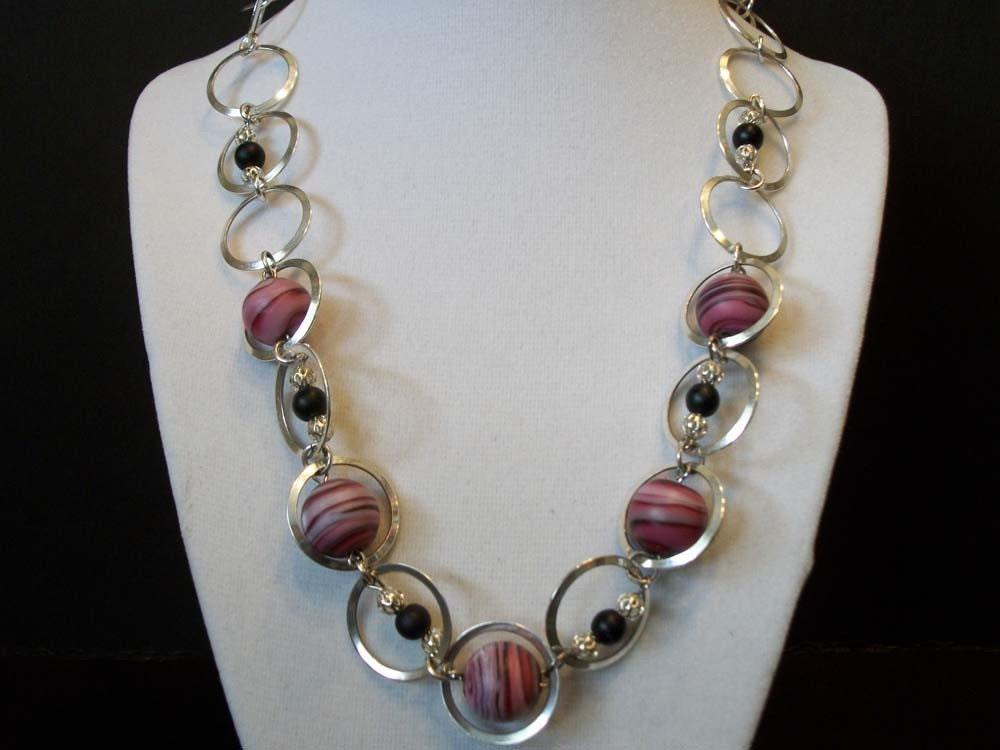 Pink & Black Planet Necklace