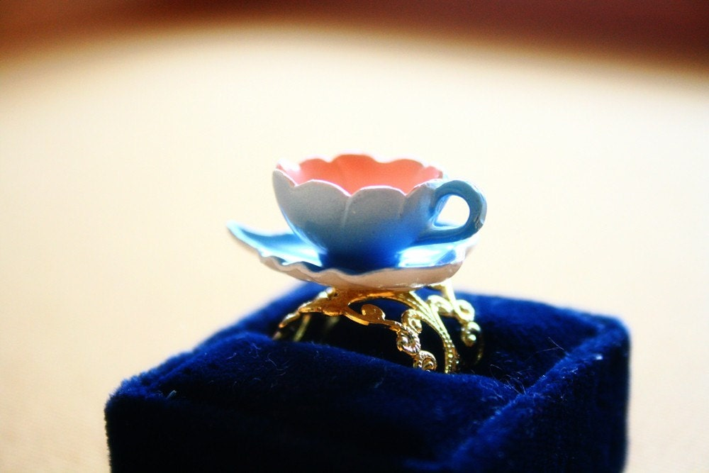 Silvermist water fairy teacup ring