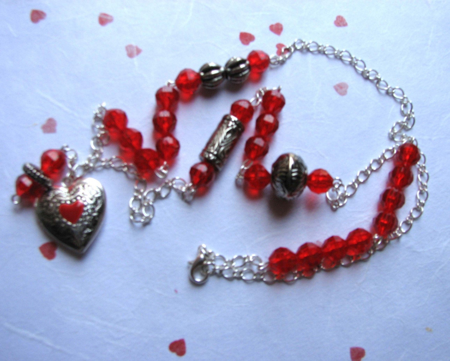 CRIMSON LOVE- Heart Locket Necklace