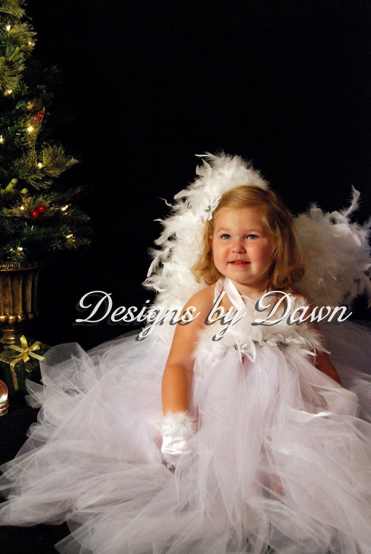 فرشته لباس سفید توتو با بال فرشته ها ، دستکش ها و قطعه مو. حجم صورت 12m - 5T. اندازه های سفارشی در دسترس