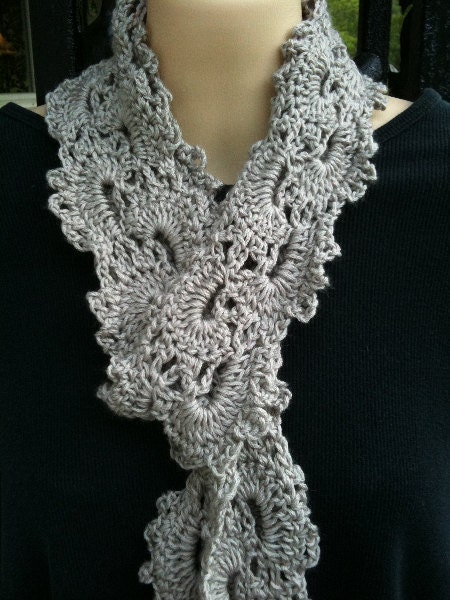 Queen Anne Lace Scarf Bamboo Blend Fingertip Length