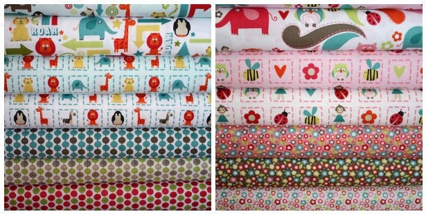 Alphabet Soup Girl and Boy Collection of 22 Fat Quarters By Zoe Pearn for Riley Blake