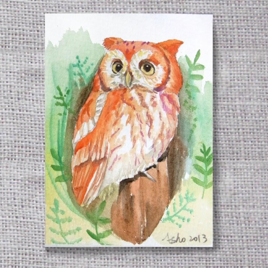 ooak-Owl original ACEO painting- buy 3 get 1 free - asho