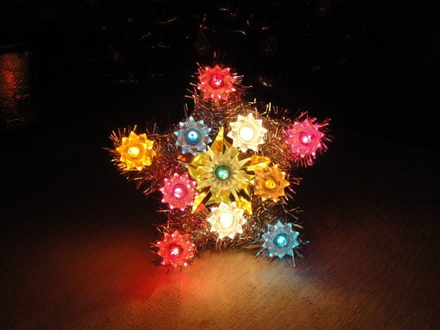 Vintage lighted tinsel star christmas tree by flossystreasures