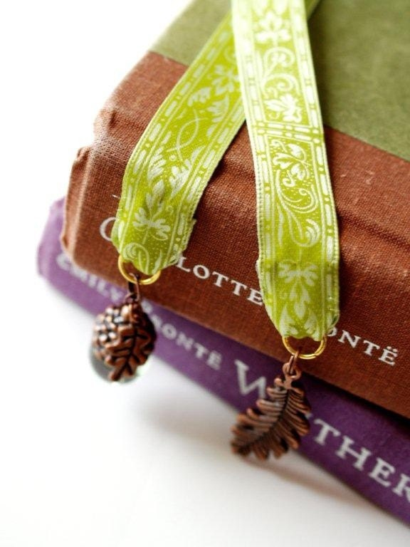 Green Vine Ribbon Bookmark with Copper Charms