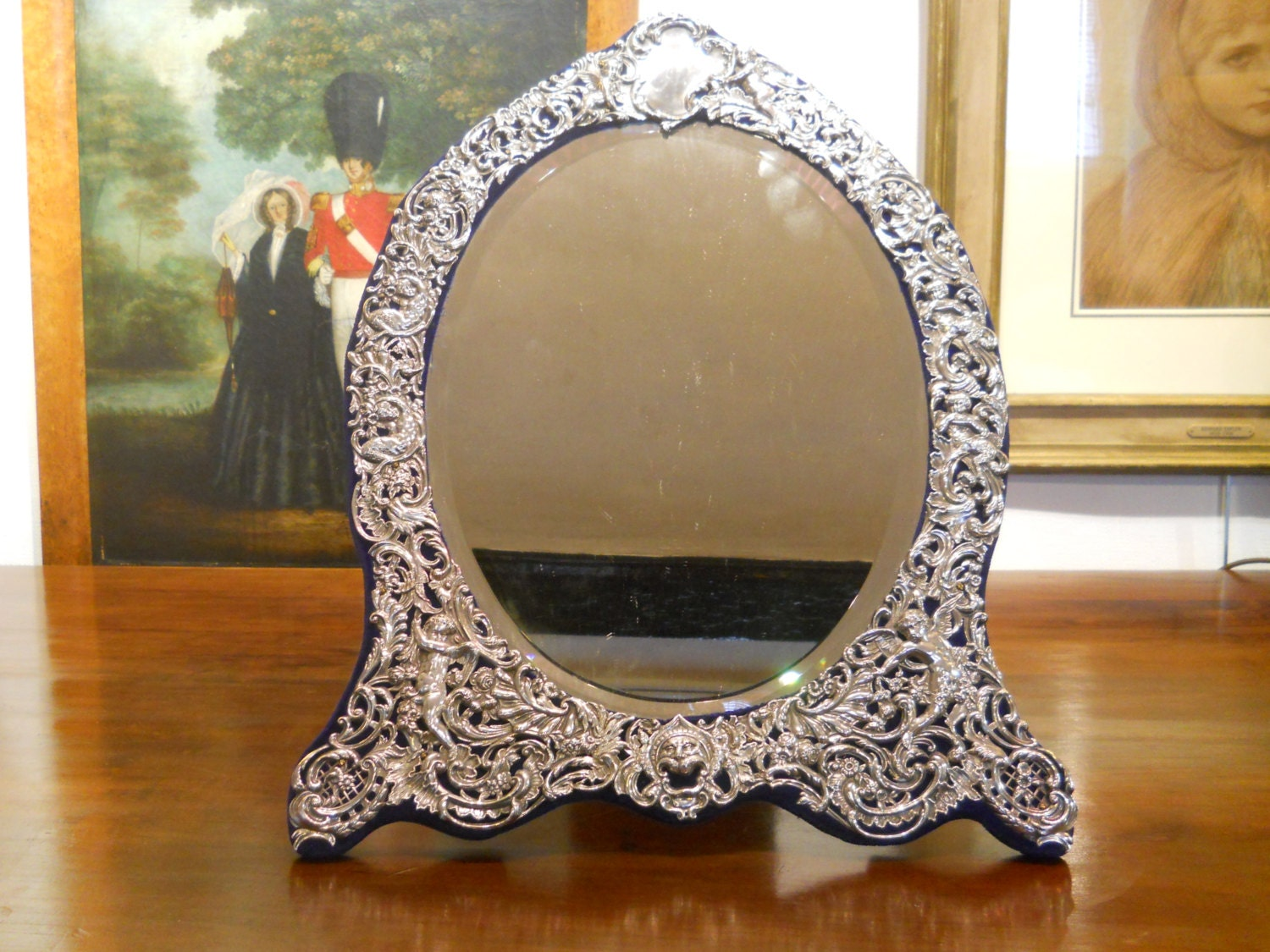 Huge English antique silver 19th century Victorian dressing table mirror 20 x 15 inches by William Comyns London 1893
