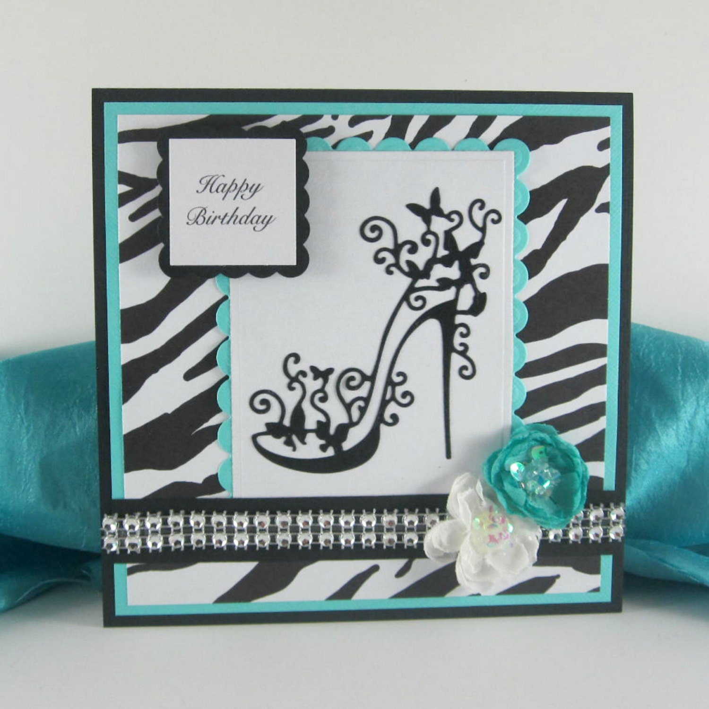 Happy Birthday Card High Heels Zebra Print By BellaCardCreations