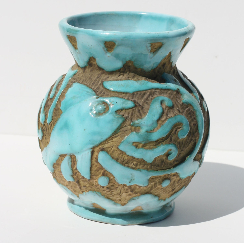 Mid Century Modern Italian Pottery Vase Abstract Fish By