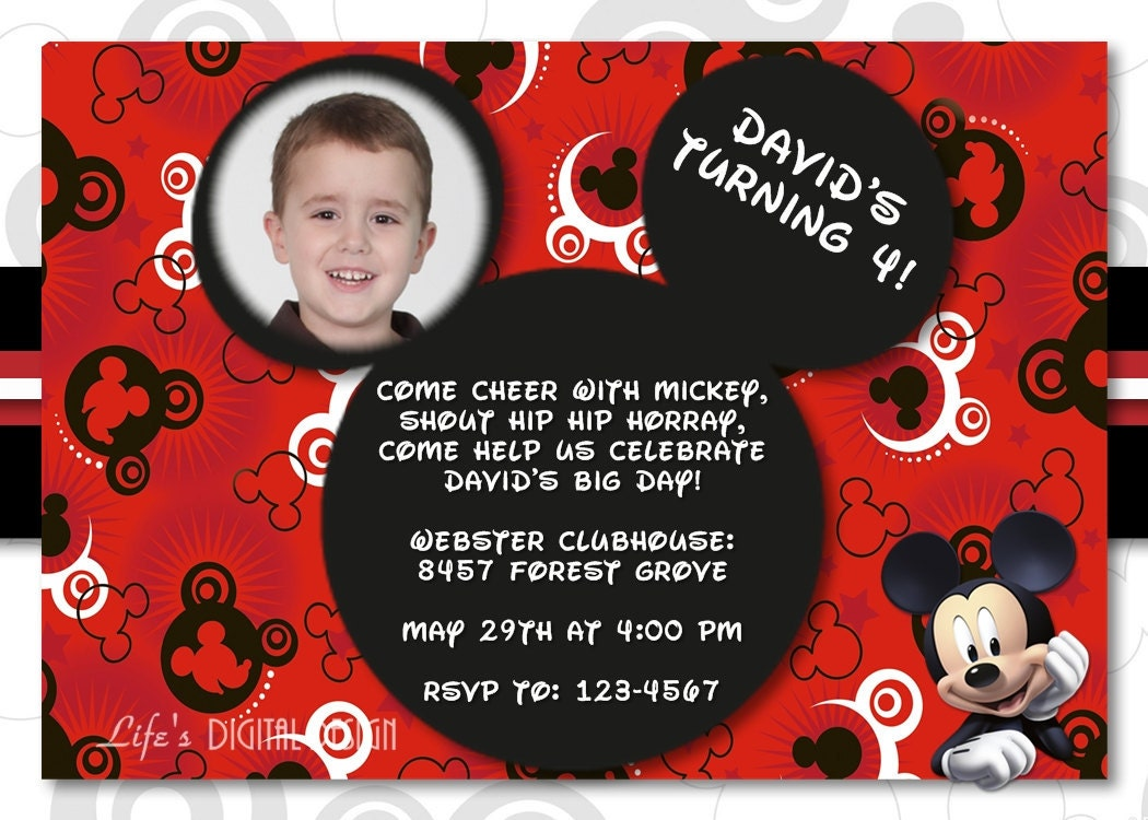 Disney Mickey Mouse Ears Birthday Invitation with Photo Options for Boy or Girl - I Customize U Print