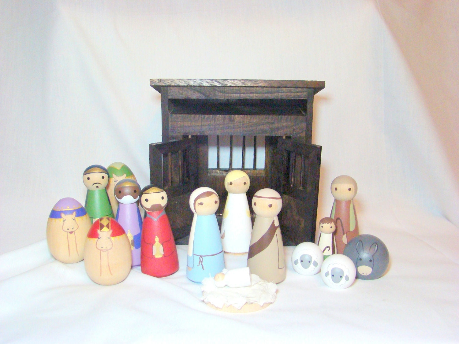 Nativity Set - 16 pc Wood Peg Doll/People Nativity Set Hand Painted