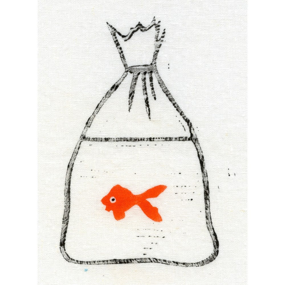 Handprinted Goldfish Bag on 5 by 7 inch Fabric