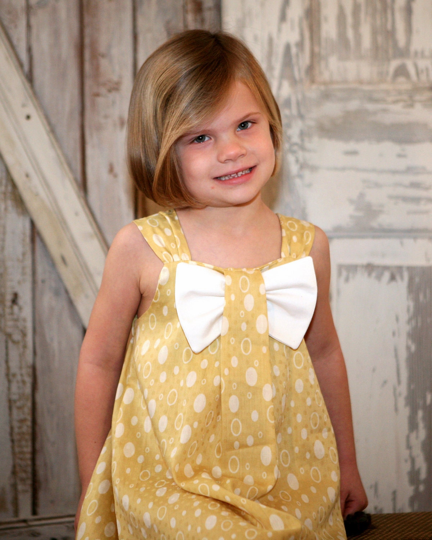 Aubrey Bow Girls Dress PDF Pattern Tutorial, Easy Sew, sizes 12m-8 included
