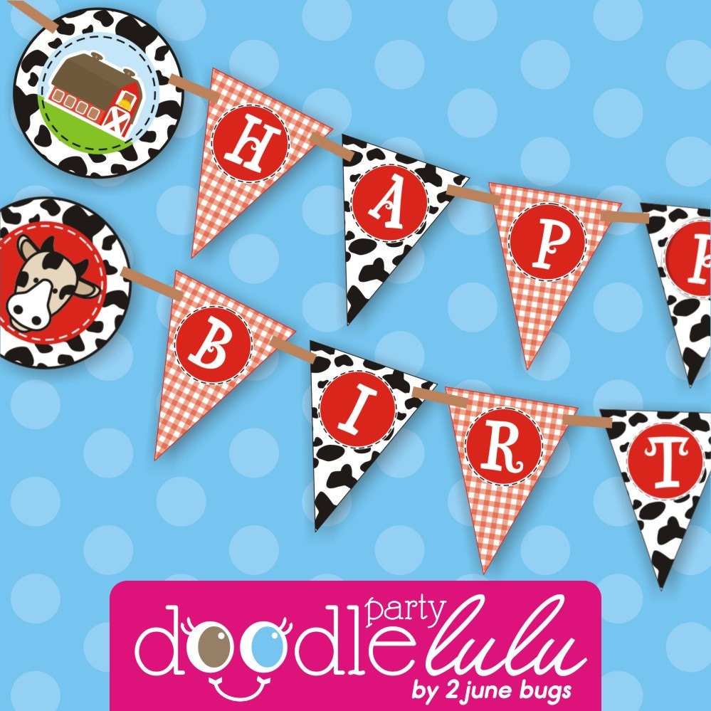 INSTANT DOWNLOAD DIY Party Decorations Farm Animal Barnyard Birthday