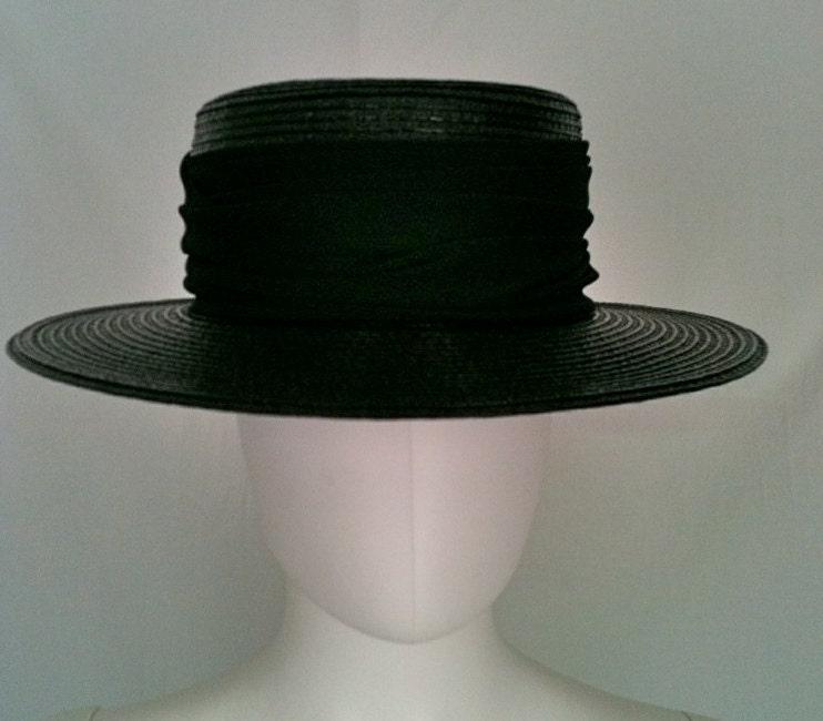 Vintage 1980s Black Straw Boater Hat - Frank Oliver Designer